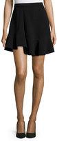 Carven Draped Crepe A-Line Skirt, Black