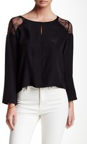 David Lerner Back Pleat Lace Shoulder Silk Blouse