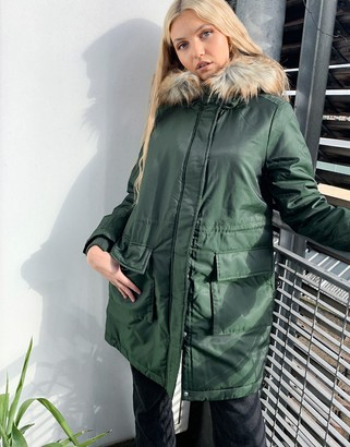 Pieces parka with faux fur hood in khaki