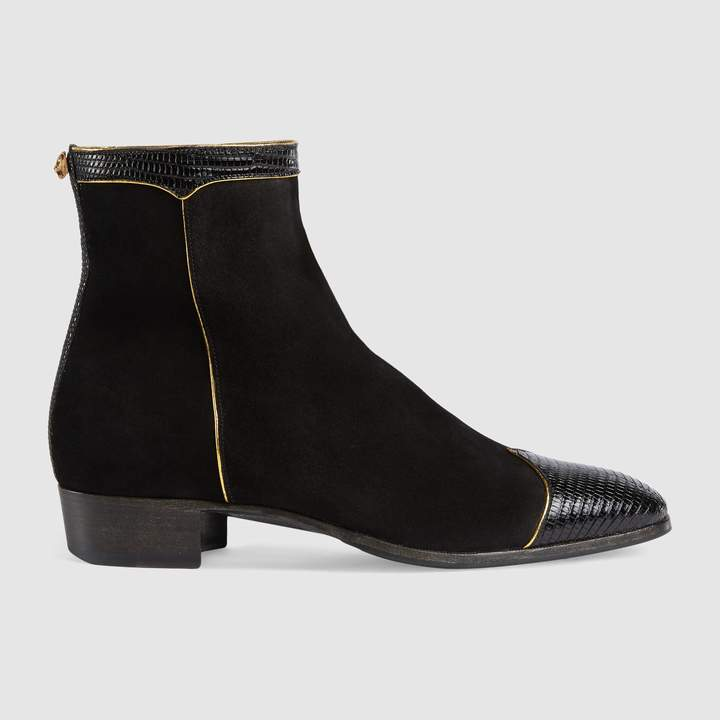 Gucci Suede and lizard boot