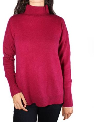 White + Warren Cashmere Side Slit Stand Neck Sweater - Dark Cherry
