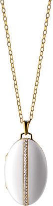 Monica Rich Kosann 18K Gold Diamond-Striped Ceramic Locket Necklace