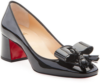 Christian Louboutin Carmela Patent Leather Bow & Tassel Red Sole Pumps