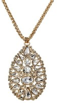 """Women's Oval Pendant Necklace - Clear/Gold (30"""")"""