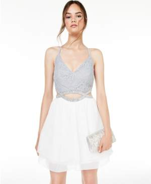 Speechless Juniors' Lace & Glitter Dress, Created for Macy's