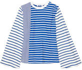 Sjyp Striped Cotton-jersey Top - Blue