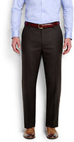 Classic Men's Tailored Fit Plain Front Flannel Trousers-Navy Chalk Stripe