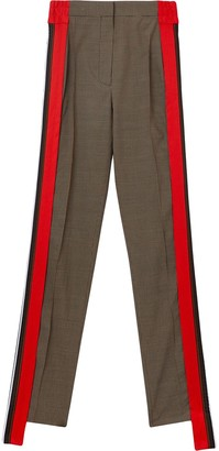 Burberry Stripe Detail Wool Cotton Tailored Trousers