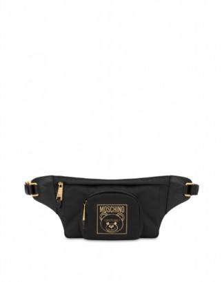 Moschino Gold Teddy Label Waist Bag Woman Black Size U It - (one Size Us)