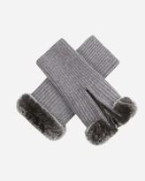 N.Peal Fur Trim Fingerless Cashmere Gloves