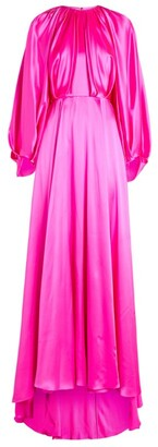 Halpern Silk Balloon-Sleeve Gown