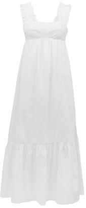 Ephemera - Ruffled-strap Cotton-poplin Midi Dress - Womens - White