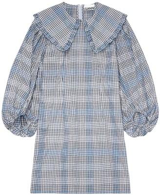 Ganni Seersucker Check Cotton Blend Mini Dress
