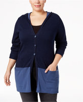 Style&Co. Style & Co Plus Size Colorblocked Hooded Cardigan, Only at Macy's