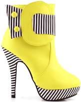 Show Story Striped Button Zipper High Heel Stiletto Platform Ankle Boots,LF30303YL36,5US