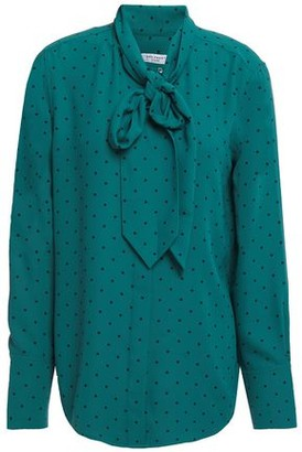 Equipment Luis Pussy-bow Polka-dot Washed-crepe Blouse