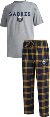 Buffalo David Bitton Unbranded Men's Concepts Sport Heathered Charcoal/Navy Sabres Troupe T-Shirt & Pants Sleep Set