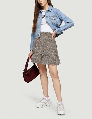 Topshop Animal-print shirred mini skirt