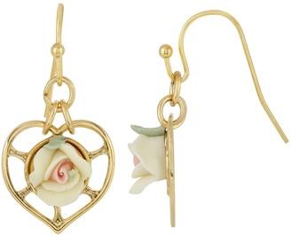 1928 14k Gold-Dipped Heart With Porcelain Rose Earrings