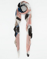 Le Château Abstract Print Woven Lightweight Scarf