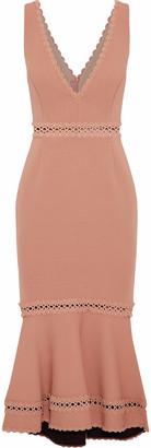 Nicholas Crochet-trimmed Bandage Midi Dress