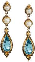 Konstantino Amphitrite Topaz & Double-Pearl Dangle Earrings