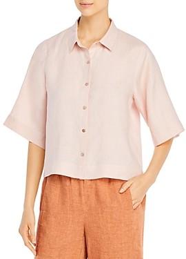 Eileen Fisher Petites Organic Linen Elbow-Sleeve Shirt