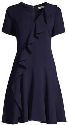 Shoshanna Linan Diagonal Ruffled Stretch Crepe A-Line Dress
