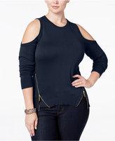 MICHAEL Michael Kors Size Zip-Trim Cold-Shoulder Sweater