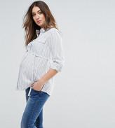 Mama Licious Mama.licious Mamalicous Long Sleeve Striped Woven Shirt