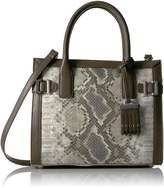 Nine West Women's Clean Living Small Satchel Style Handbag, Natural Multi/Sand Stone/Deep Stone