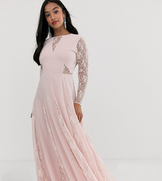 Asos DESIGN Petite maxi dress with long sleeve and lace paneled bodice