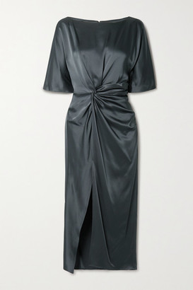 Sally LaPointe Twist-front Duchesse-satin Tunic - Charcoal