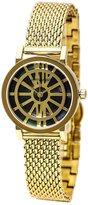 Wittnauer WN4035 Women's Charlotte Black MOP Dial Yellow Gold Tone Steel Mesh Bracelet Watch