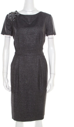 Blumarine Metallic Grey Embellished Shoulder Detail Dress M