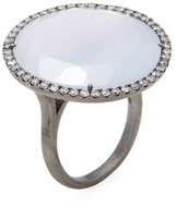 Meira T Silver, Chalcedony & 0.53 Total Ct. Pave Diamond Diamond Ring