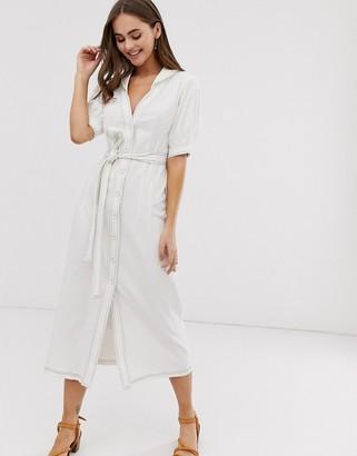Emory Park midi shirt dress with tie waist-Cream