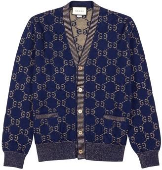 Gucci Navy GG-intarsia Cotton Cardigan