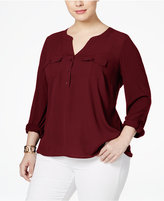 INC International Concepts Plus Size Mixed-Media Utility Blouse, Only at Macy's