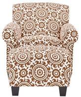 "Clarke 19.5"" Armchair and Ottoman Latitude Run Fabric: Orange and Cream Medallion 100% Polyester"