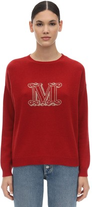 Max Mara Intarsia Logo Cashmere Knit Sweater