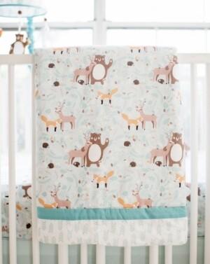 My Baby Sam Forest Friends 3pc Crib Bedding Set Bedding