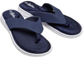 Onfire Womens Memory Foam Insock Toe Post Sandals White/Navy