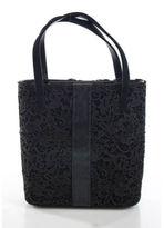 Stuart Weitzman Dark Brown Floral Crochet Overlay Leather Detail Bucket Handbag