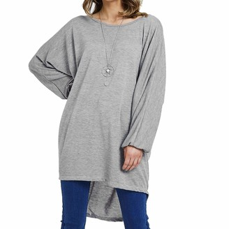 Xpose Clothing Ladies Plus Size Oversized Batwing Jumper Dress with Necklace Size 10-20 (Silver Grey 2XL/3XL (18/20))