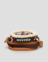 Asos Faux Leather And Woven Bracelet Pack