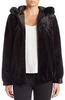 Gallery Plus Hooded Faux-Fur Jacket
