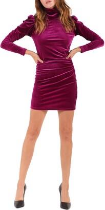 Pam & Gela Mock Neck Long Sleeve Shirred Sheath Dress