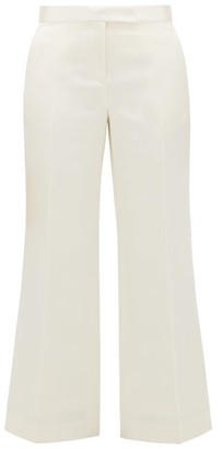 Marina Moscone Tailored Wool-blend Duchess-satin Trousers - Ivory