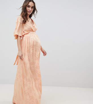 Asos DESIGN Maternity Soft Jacquard Maxi Dress With Flutter Sleeve-Orange